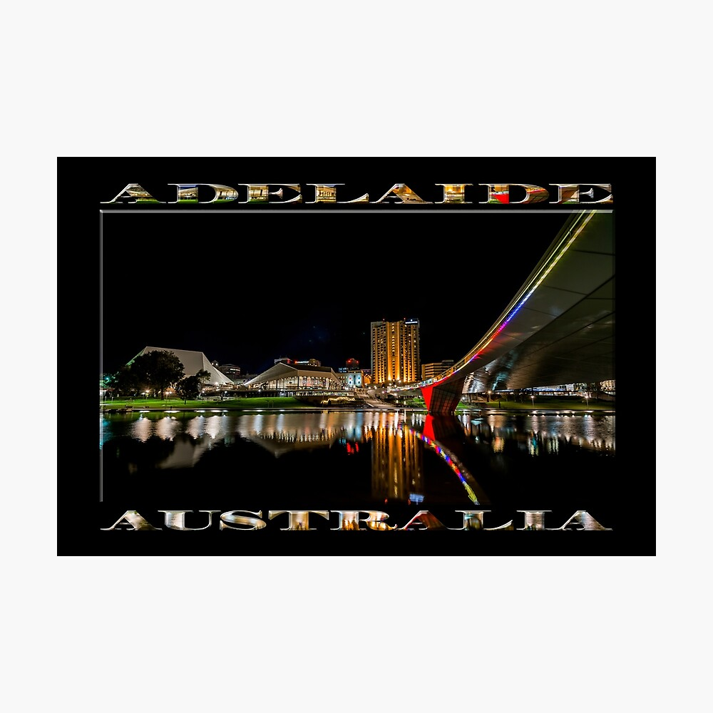 Adelaide Riverbank at Night (poster on black) Photographic Print