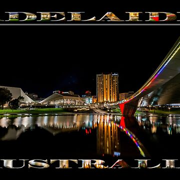 Adelaide Riverbank at Night (poster on black) by RayW