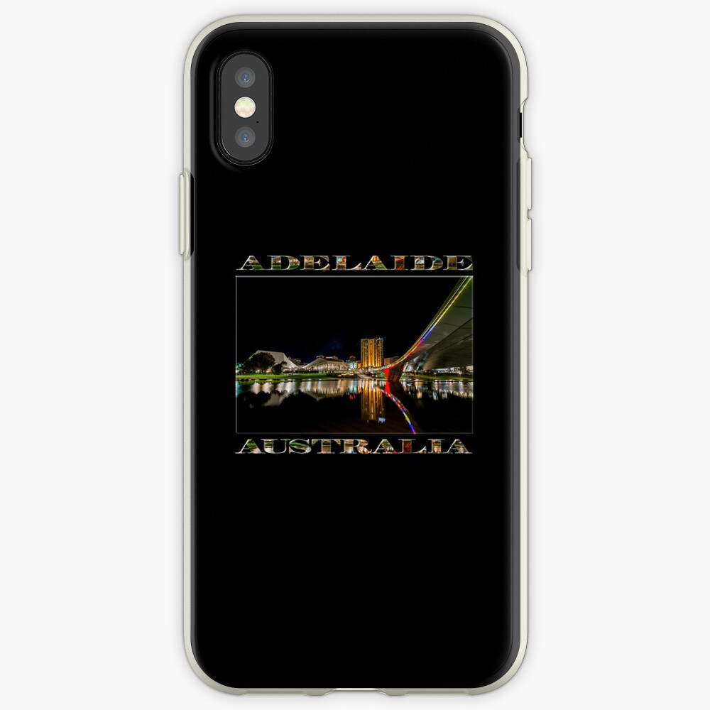 Adelaide Riverbank at Night (poster on black) iPhone Case & Cover
