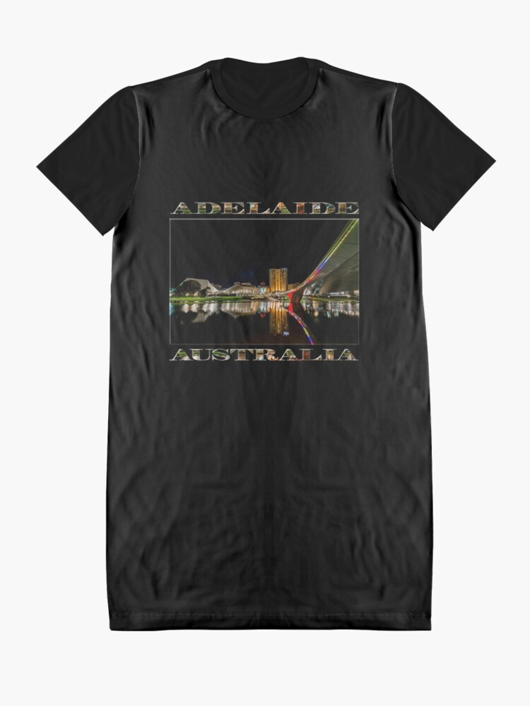 Alternate view of Adelaide Riverbank at Night (poster on black) Graphic T-Shirt Dress