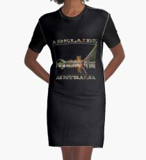 Adelaide Riverbank at Night (poster on black) Graphic T-Shirt Dress