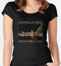 Adelaide Riverbank at Night (poster on black) Women's Fitted Scoop T-Shirt