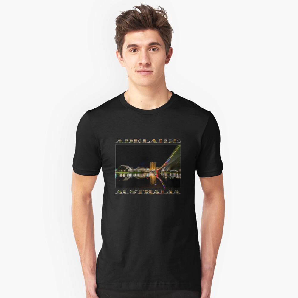 Adelaide Riverbank at Night (poster on black) Slim Fit T-Shirt