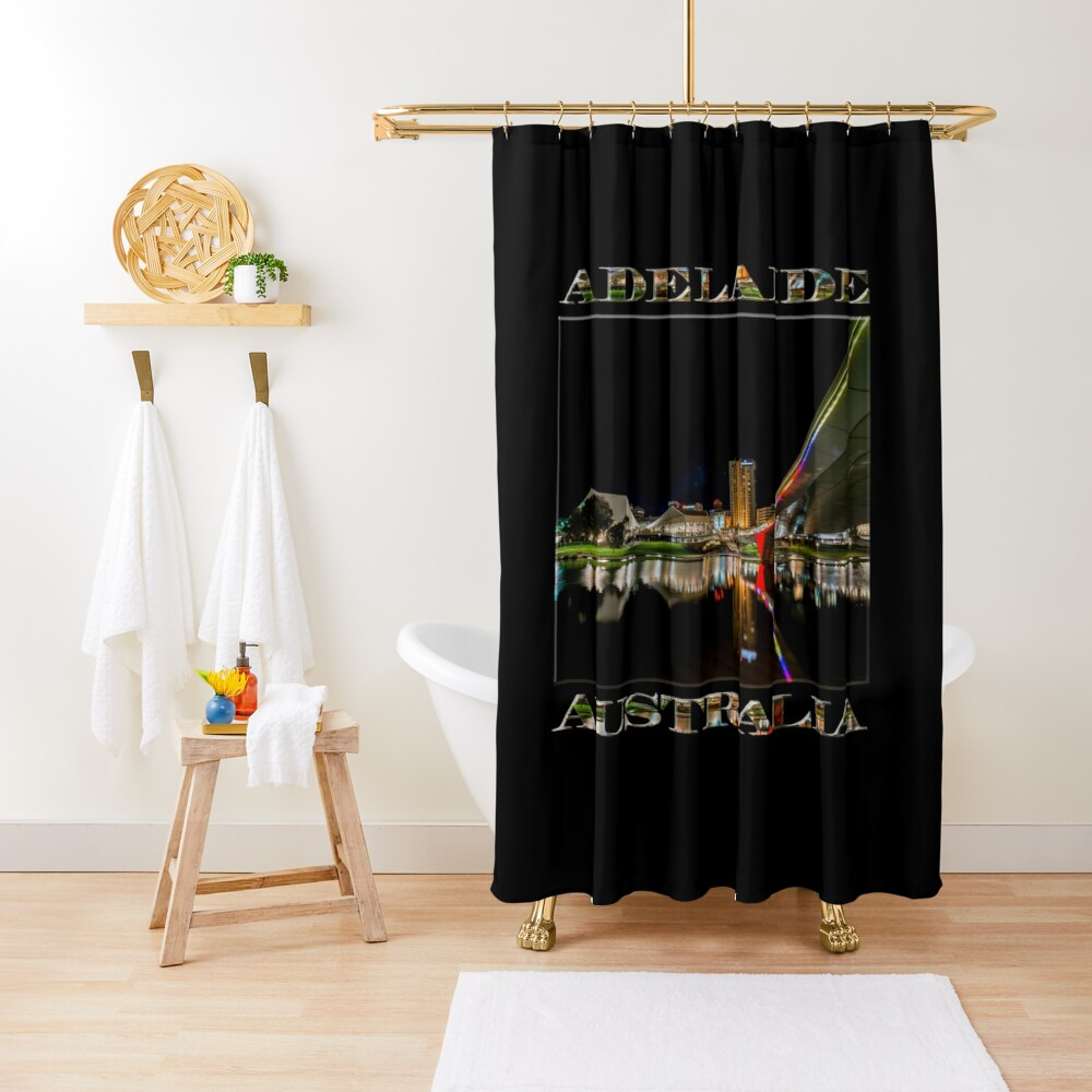 Adelaide Riverbank at Night (poster on black) Shower Curtain