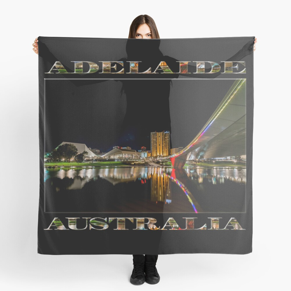 Adelaide Riverbank at Night (poster on black) Scarf