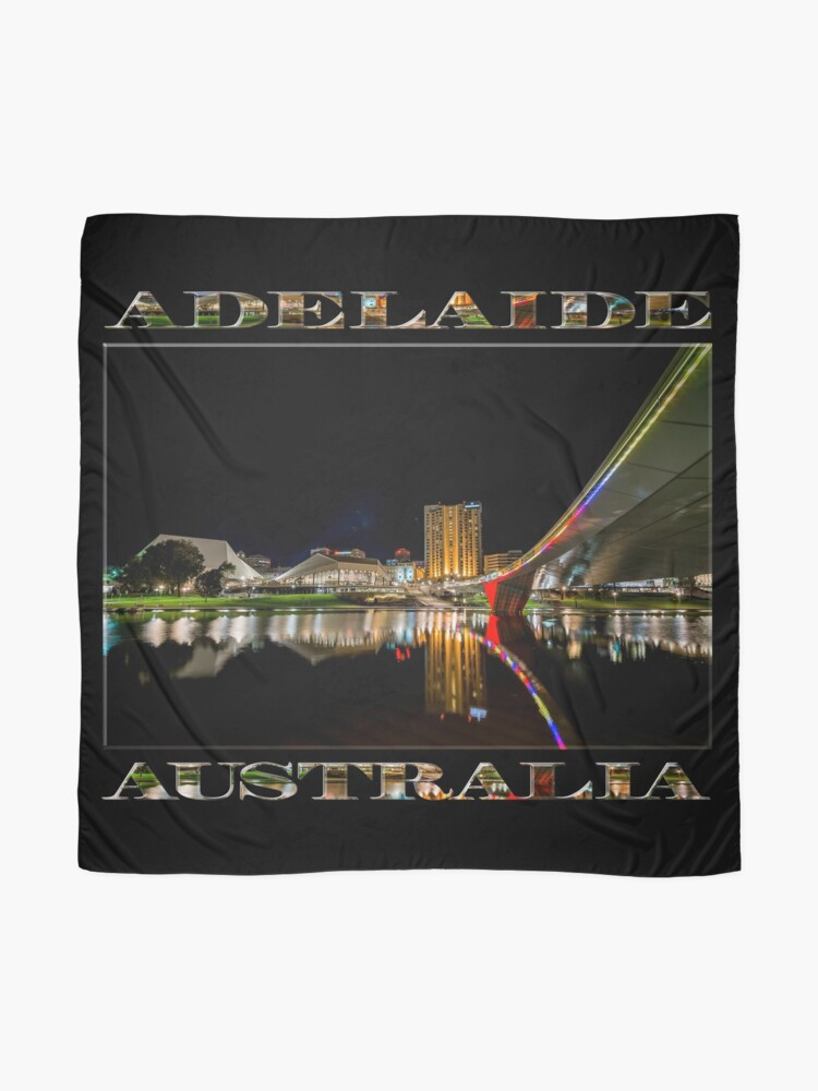 Alternate view of Adelaide Riverbank at Night (poster on black) Scarf