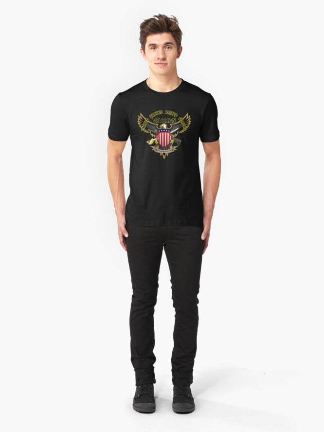 Alternate view of United States Armed Forces Military Veteran - Proudly Served Slim Fit T-Shirt