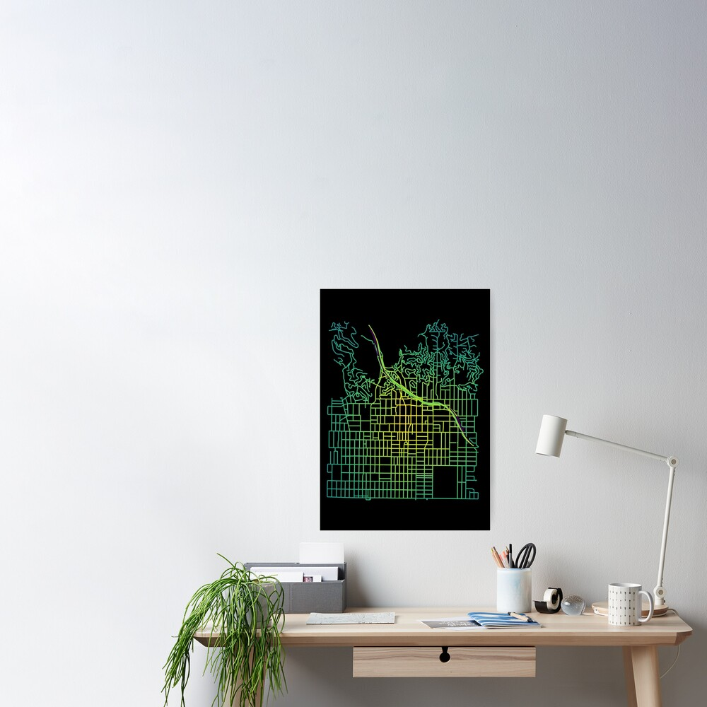 Hollywood, Los Angeles Colored Street Network Map Graphic Poster