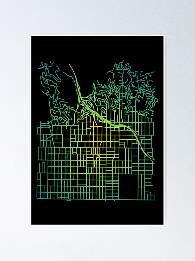 Alternate view of Hollywood, Los Angeles Colored Street Network Map Graphic Poster