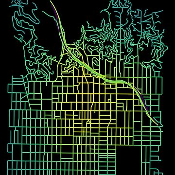 Hollywood, Los Angeles Colored Street Network Map Graphic by ramiro