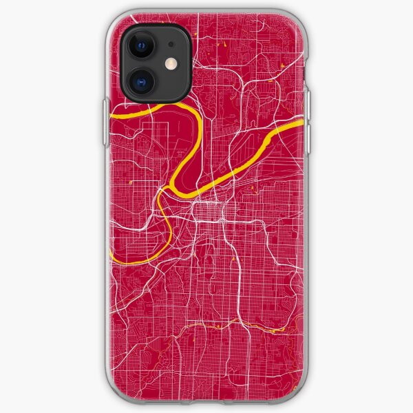 Kansas City Map In Chiefs Colors iPhone Soft Case