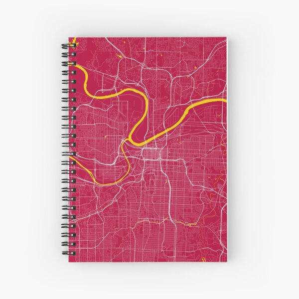 Kansas City Map In Chiefs Colors Spiral Notebook