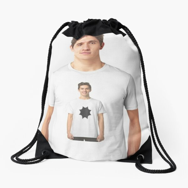#white #t_shirt #young #isolated #portrait #shirt #casual #handsome #guy #person #model #happy #people #boy #smiling #blank #men #fashion #standing #clothing #one #smile #tshirt #studio #woman  Drawstring Bag
