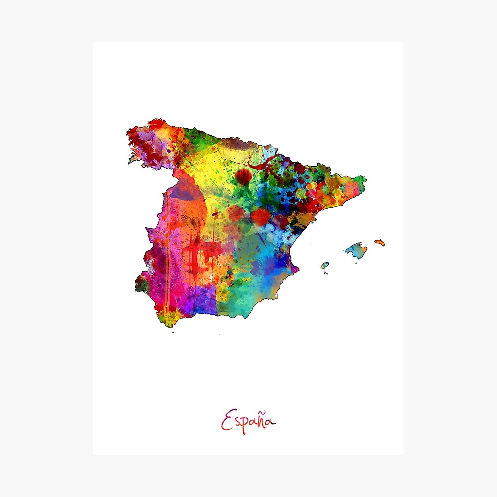 Spanien Aquarell Karte Fotodruck