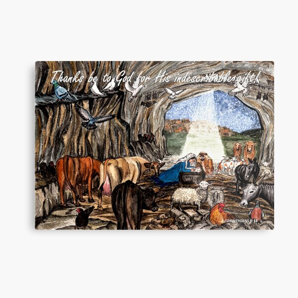 Thanks be to God - Nativity Scene with Bible Verse 2 Cor 9:15 Metal Print