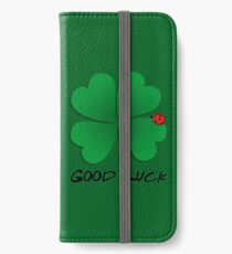 Good Luck - Four Leaf Clover with Ladybug iPhone Wallet/Case/Skin