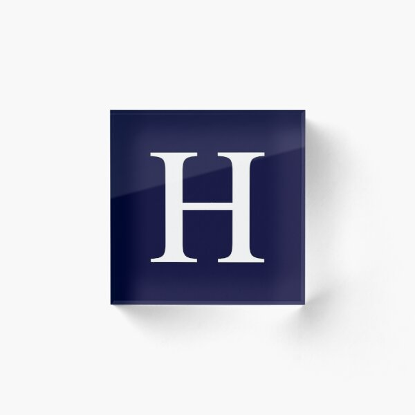 Navy Blue Basic Monogram H Acrylic Block