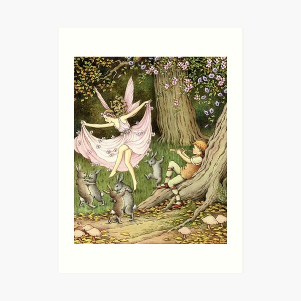 Rabbits and a Fairy Dance to the Piper - Ida Rentoul Outhwaite Art Print