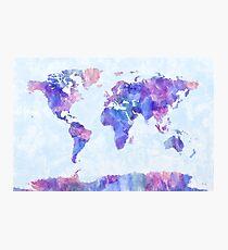 Karte der Weltkarte-Aquarell-Malerei Fotodruck
