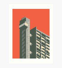 Trellick Tower London Isometric Minimal - Plain Brick Art Print