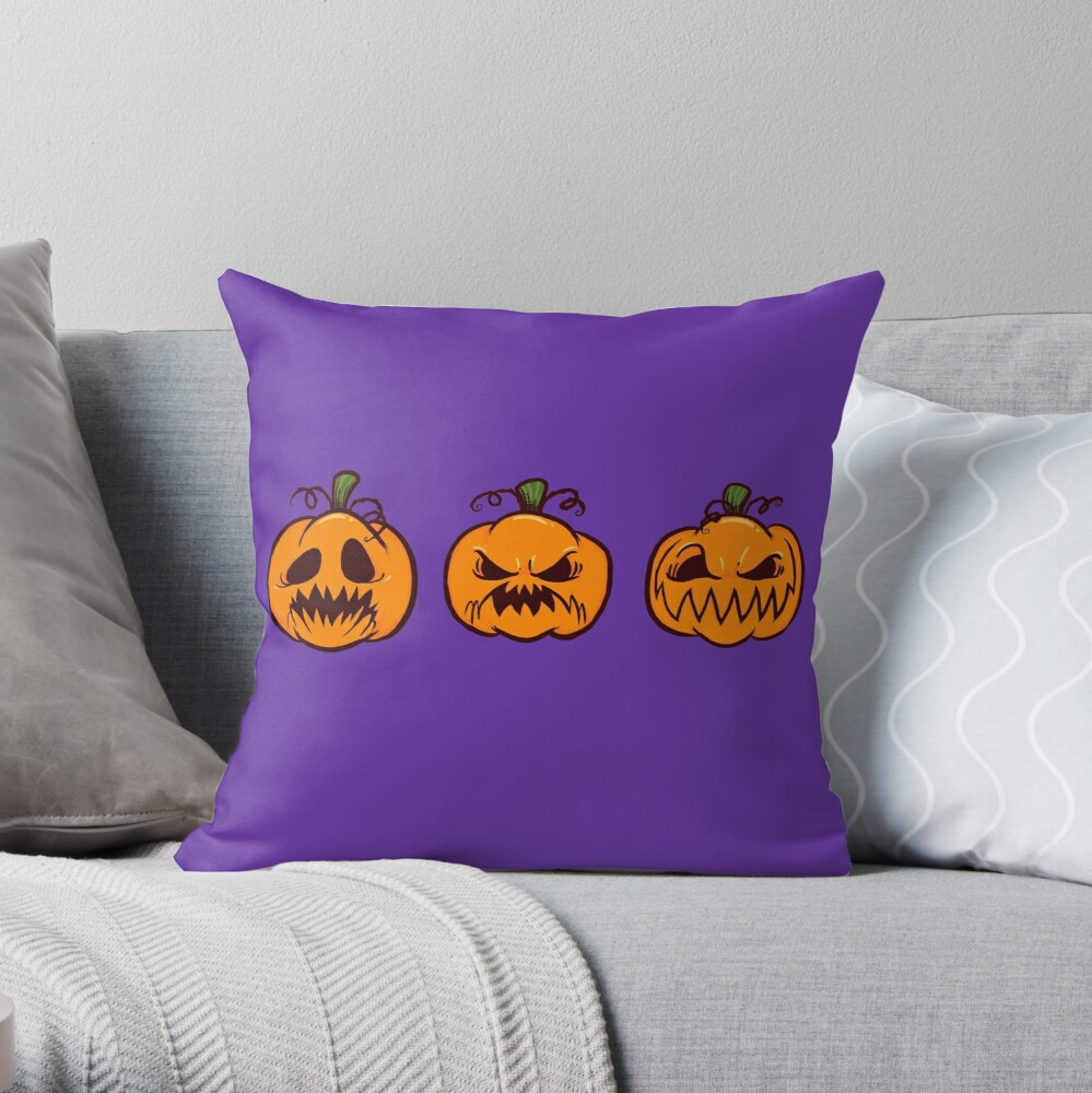 Mischievous Pumpkins Throw Pillow