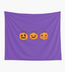 Mischievous Pumpkins Wall Tapestry