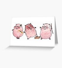 Three Little Pigs Greeting Card