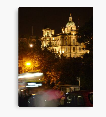 Edinbustle! (busy street, night in Scotland's capital) Canvas Print