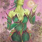 The Rose Unseelie Dark Elf Odd Fae Card Game Fantasy Fairy Art with Leaf Bodice Corset and Black Roses by angelasasser