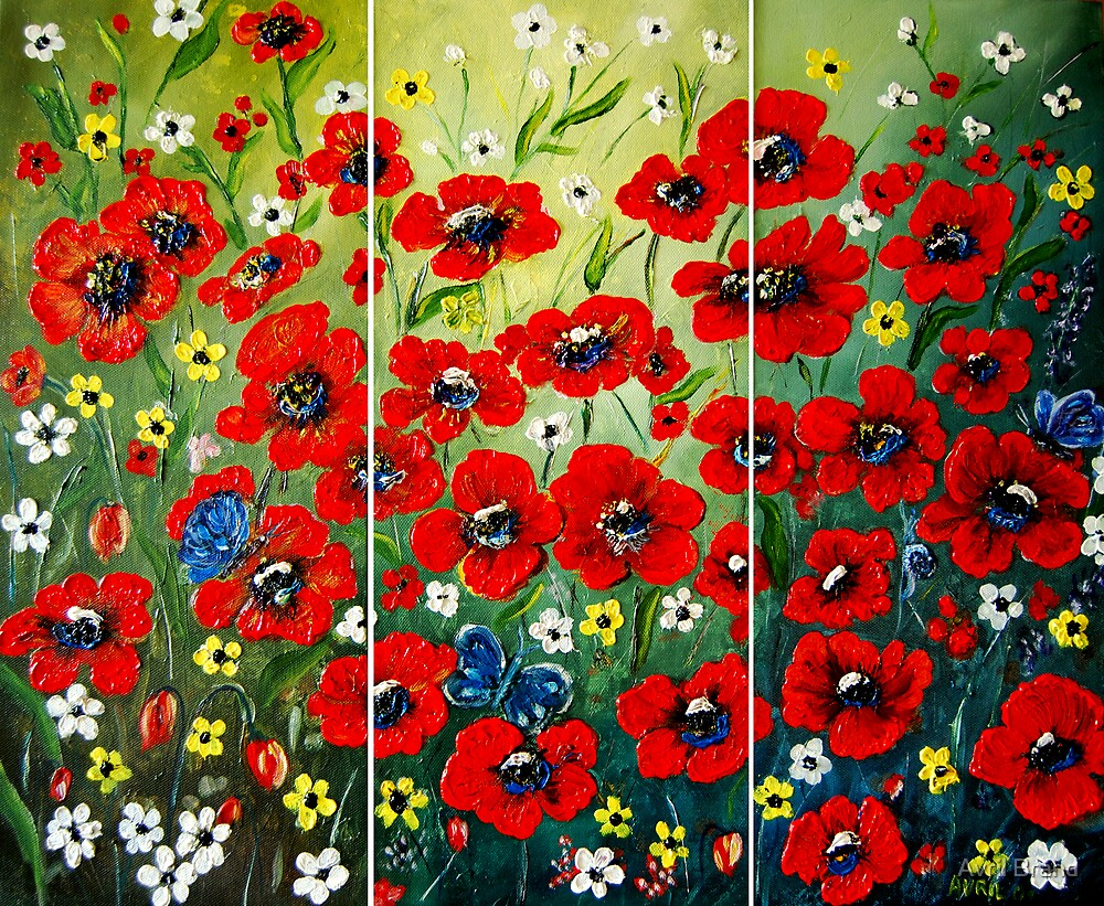 """""""Poppy Triptych"""" - oil painting by Avril Brand"""
