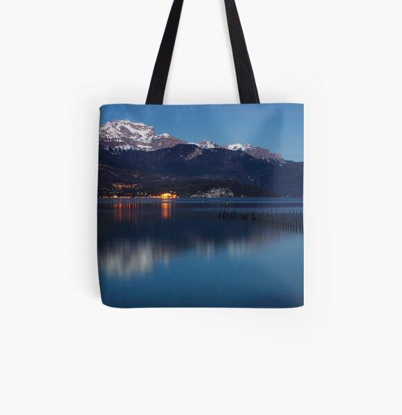 Nightfall on Annecy lake All Over Print Tote Bag