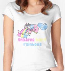 unicorns barf rainbows Women's Fitted Scoop T-Shirt