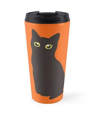 'Cute Halloween Black Cat T-Shirt With Bright Eyes T-Shirt' Travel Mug by Dogvills