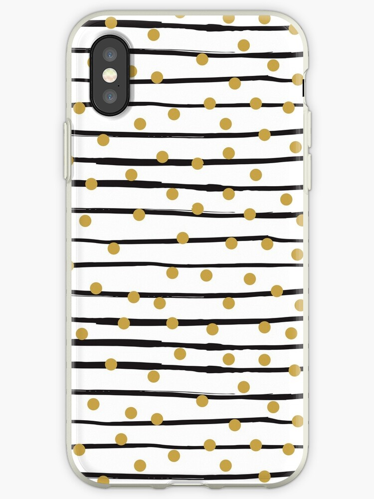 Modern black and gold hand drawn stripes dots pattern by Maria Fernandes