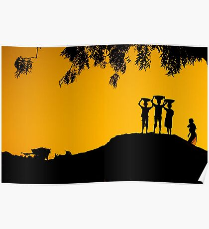 The Golden Hour in a Village Poster