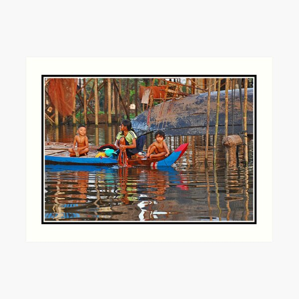 Washday in Kompong Phluk Art Print