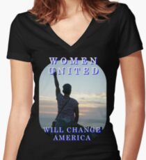 Women United Vote Changers Women's Fitted V-Neck T-Shirt