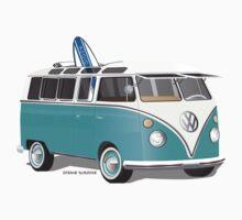 Split VW Bus Teal with Surfboard