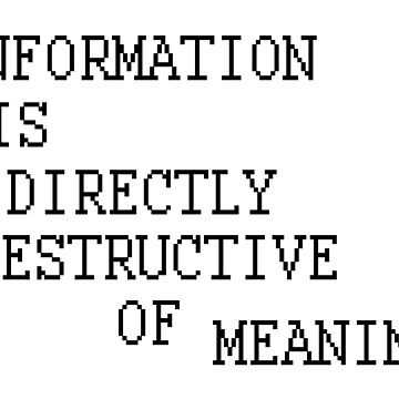INFORMATION IS DIRECTLY DESTRUCTIVE OF MEANING by ambience