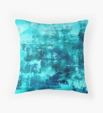 OFF THE GRID 8 Colorful Coastal Fine Art Abstract Watercolor Acrylic Monochrome Turquoise Aqua Teal Painting Throw Pillow