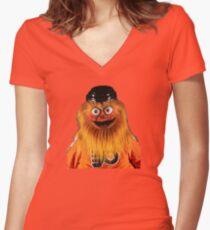Gritty Philadelphia Flyers Mascot Women's Fitted V-Neck T-Shirt