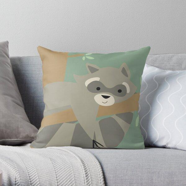 Racoon on Tree Throw Pillow