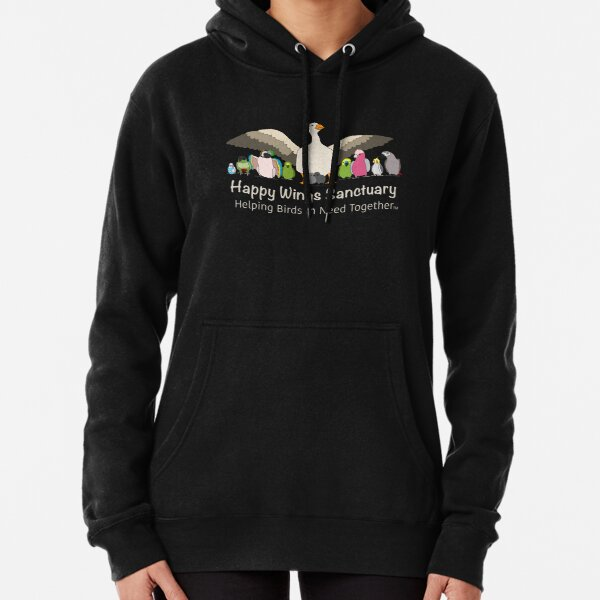 HAPPY WINGS SANCTUARY LOGO - WHITE FONT Pullover Hoodie