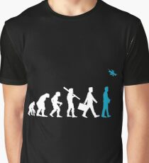 Funny Drone - Mankind Evolution Flying Quad Flying Visual Camera Humor Graphic T-Shirt