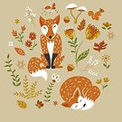 Foxes with Fall Foliage by latheandquill