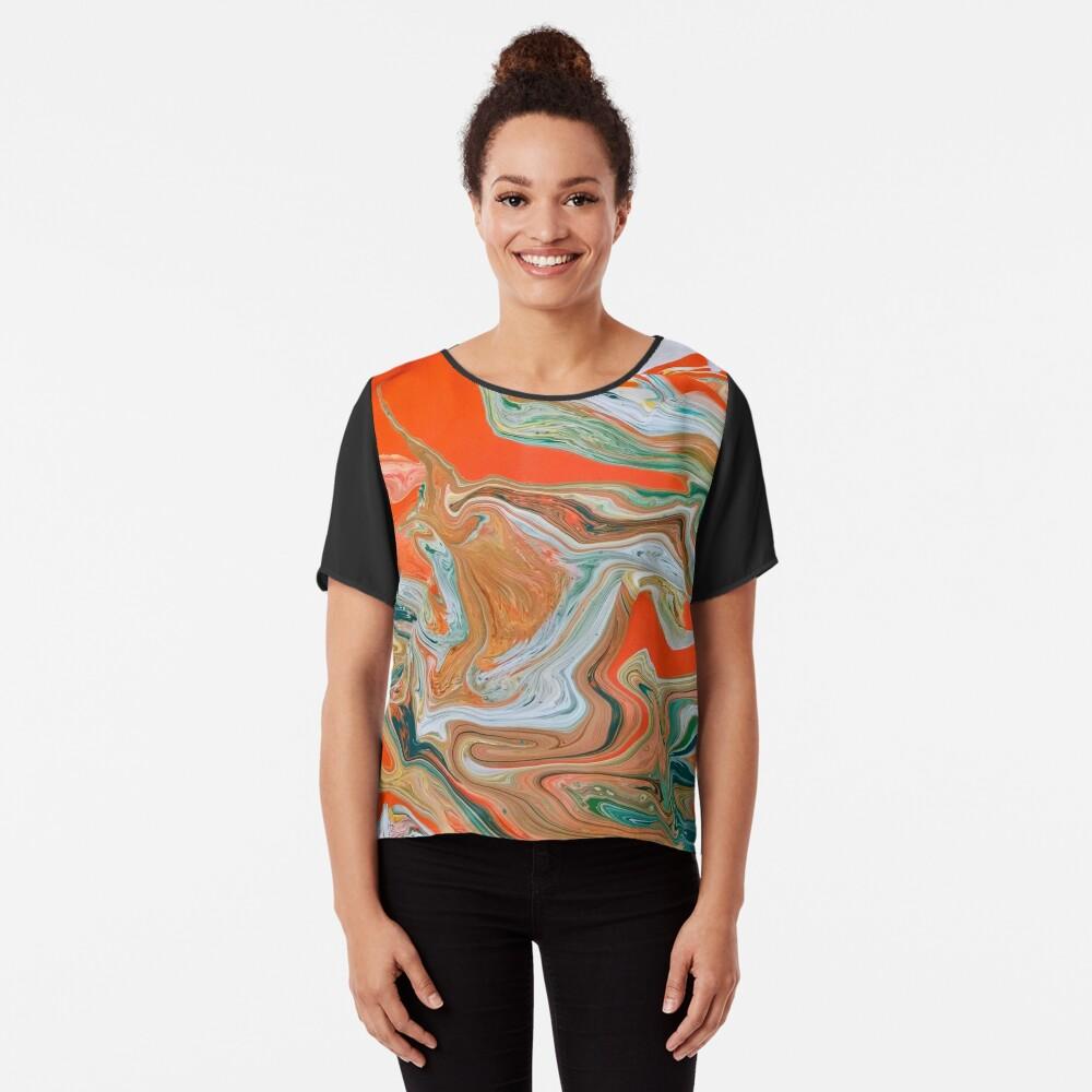 "Abstract Art- Title ""Orange Granite"" Chiffon Top"