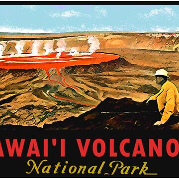 Hawaii Volcanoes National Park Vintage Travel Decal by hilda74