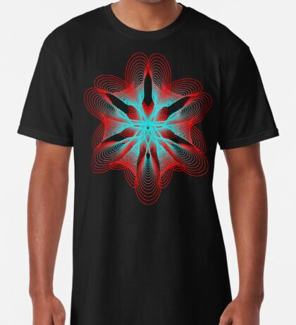 Spirograph with red and blue Long T-Shirt