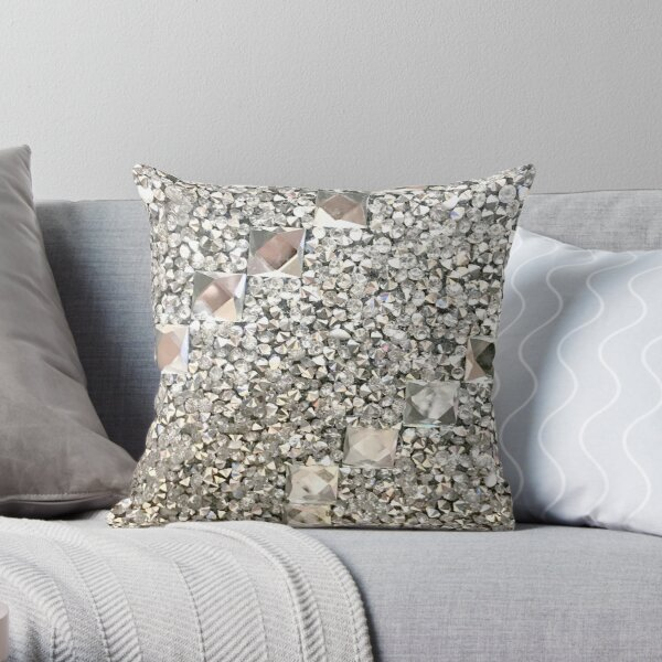 (Faux) Diamond Chips and (Faux) Jeweled Pattern Throw Pillow