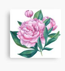 Watercolor Peony Bouquet Canvas Print